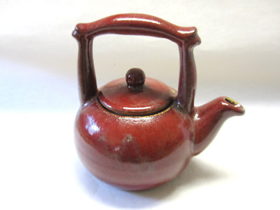 Vintage Reddish Brown Earthenware Teapot Old Hand Thrown Pottery Signed