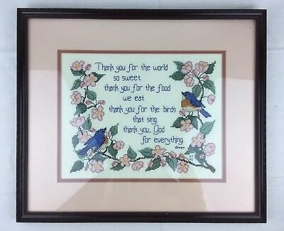 """Expertly Completed Cross Stitch THANK YOU GOD Bluebird Picture Framed 15 x 17"""""""