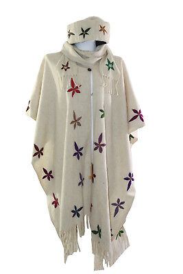 Handmade Womens Wool Embroidered Poncho Sweater & Hat White Floral Hippie Gift