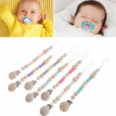 Baby Pacifier Clip Wooden Chain Soother Nipple Holder For Infant Feeding Teether