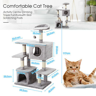 Cat Scratching Tree Post Scratcher Pole Toy House Furniture Multi Level 2 Condo