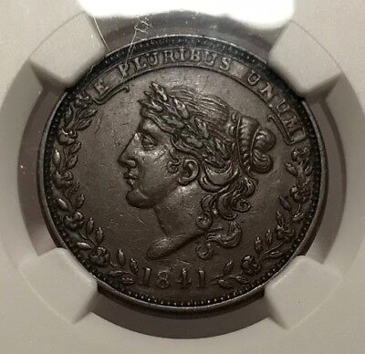 HT-58 Low 69 NGC AU-58 BN - Liberty 1841 / Not One Cent for Tribute