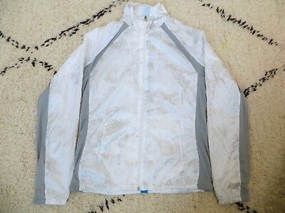 Womens Adidas white and silver athletic full zip light jacket size small