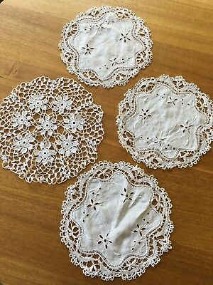Three Matching Vintage Hand Embroidered Delicate Cotton Doilies.Old World Charm.
