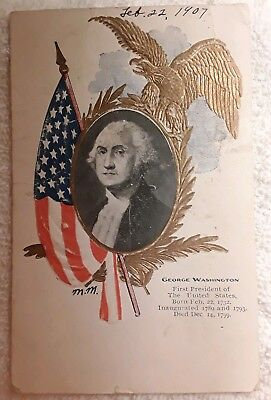 Antique Postcard GEORGE WASHINGTON WITH U.S. FLAG 1907 Posted Embossed
