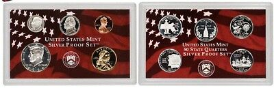 2000 US Mint Silver Proof Set 10 Piece Silver Set with State Quarters