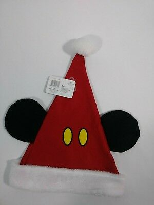 DISNEY MICKEY MOUSE 90th ANNIVERSARY SANTA CHRISTMAS HAT WITH EARS NWT