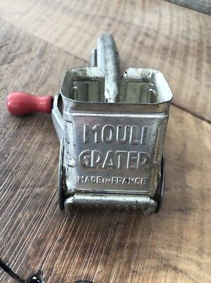 Antique Vintage Mouli Cheese Grater Made in France Red Wooden Handle