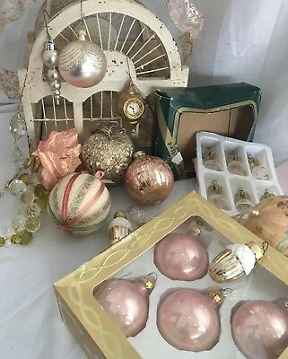 Vtg Lot of 24 Victorian Christmas Ornaments ROSE GOLD PINK Bells Grapes  + Boxes