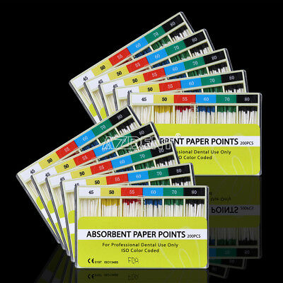 100Box Absorbent Paper Points 0.02 Taper 45 -80# Dental For Root Endodontics Use