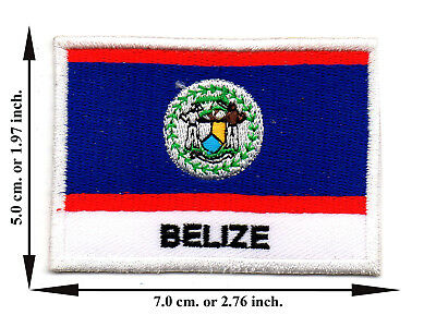 Belize Flag Nation Country Sports Travel Size L Applique Iron on Patch Sew DIY