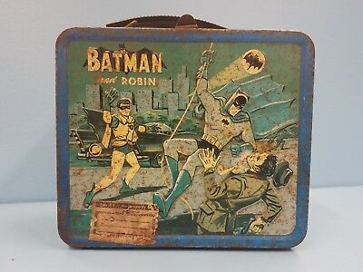 Vintage 1966 Batman and Robin Lunchbox FADED