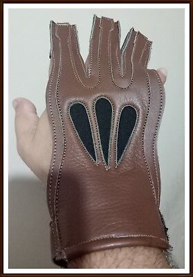 American Leathers Big Shot Archery Shooting Glove Buffalo Leather BROWN