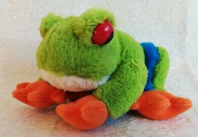 "Animal Planet Red Eyed Tree Frog w/ Sound Stuffed Animal Plush Toy 6"" 2010"