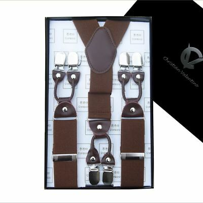 Mid Brown with Leather Attachment Y3.5cm Extra Large Braces  Mens Suspenders