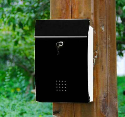 Wall Mounted Lockable Post Box Steel Large Letter Mailbox with Key Outdoor UK