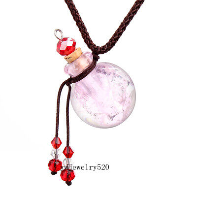 Pink Oil Perfume Bottle Vial Necklace Fragrance Aromatherapy Diffuser New FREE