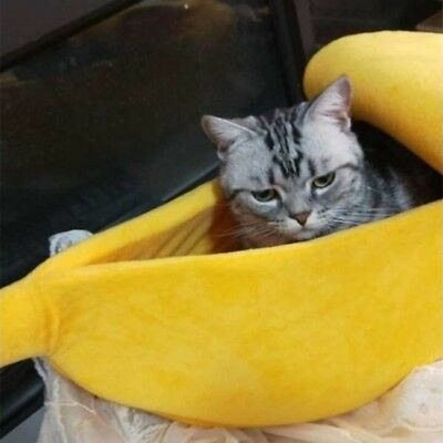 Cute Pet Dog Cat Puppy Bed Kitten Banana Shaped Fluffy Warm Soft Plush Home Bed