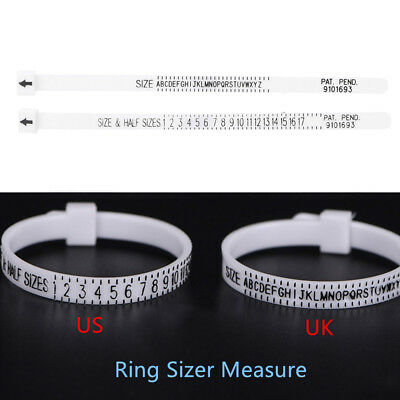 Ring sizer UK/US Official Finger Measure Gauge Men and Womens Sizes A-Z