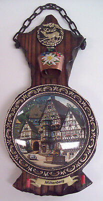 Miltenberg Germany Rustic Wood Plaque w/ Bubble Old City Scene Cowbell Key Hooks