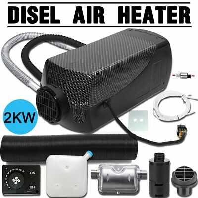 12V 2KW Diesel Air Heater Tank Knob Thermostat Silencer Filter Vent Duct L3