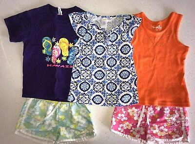 Girl Size 5 Bulk Lot - 5 Items Tops And Shorts - Gymboree Blue Top