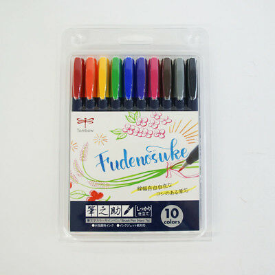 Tombow WS-BH10C Fudenosuke Water-based Brush Pen Hard Tip 10 Color Set BBG