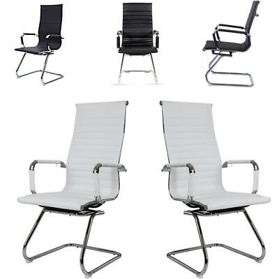 Faux Leather Cantilever Office Task Chair High Back Armchair Chrome Black White