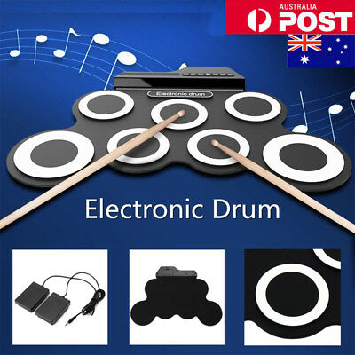 Electronic Drum USB Pads Roll up Drum Set Silicone Electric Drum 7 Pad Kit AU