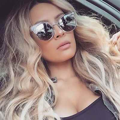 Round Cat Eye Women Sunglasses Silver Mirrored Lens Transparent Frame Fashion
