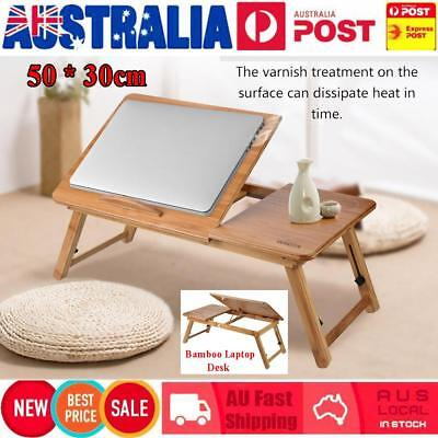Foldable Wooden Bamboo Bed Tray Breakfast Laptop Desk Stand 50 * 30cm Table Tray