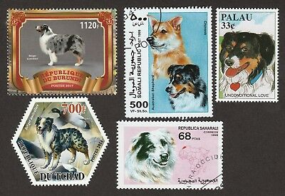 AUSTRALIAN SHEPHERD ** Int'l Dog Stamp Collection ** Great Xmas Gift Idea*