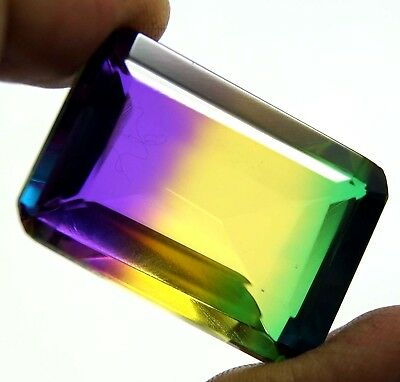 New Year Offer GGL Certified 104.00 Ct Emerald Cut Multi Color Tourmaline Gem