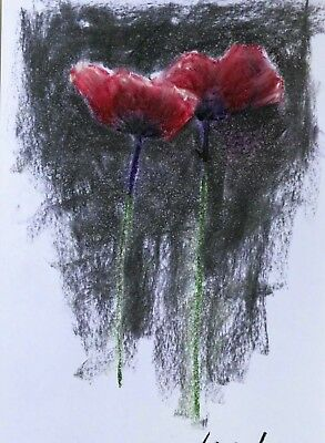Mixed Media Small Poppy Flower Painting Pastel Charcoal Original 14x22cm