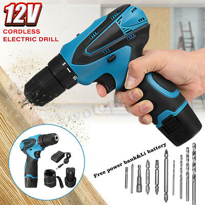 12V Cordless Electric Impact Drill Driver Screwdriver 2 Li-Ion Battery Recharge