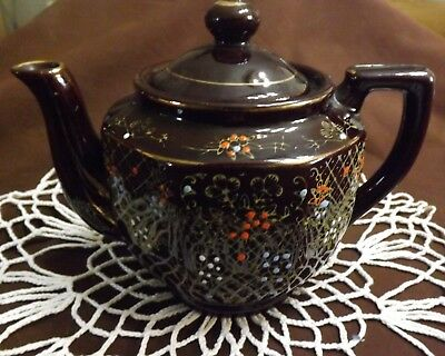 Vintage Brown Japanese Tea Pot with Hand Painted Design & Gold Accents #EB47