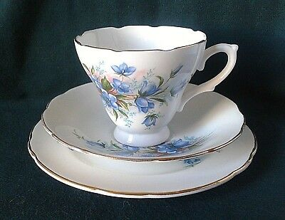 Vintage Royal Sutherland Bone China Tea Set Trio Blue Flowers Fine Bone China