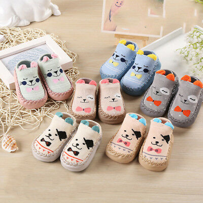 Newborn Baby Boys Girls Cartoon Ears Floor Socks Anti-Slip Step Shoes Socks Boot