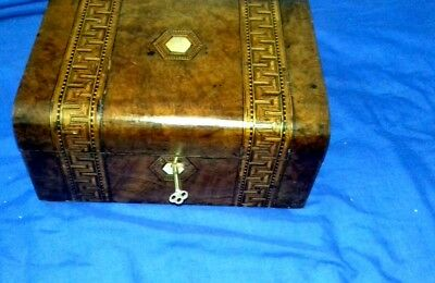 Tunbridge ware box with working lock and key Lovely  patina.  Lined with  velvet