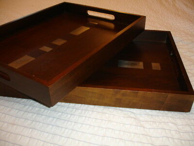 2 x JOHN LEWIS - KANCHI - WOOD METAL BUTLERS TEA SERVING TRAY - MODERN DESIGN