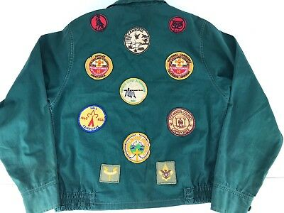 Vtg BSA Boy Scouts Uniform Jacket 11 Patches 1960's Tidewater VA Youth Size ?