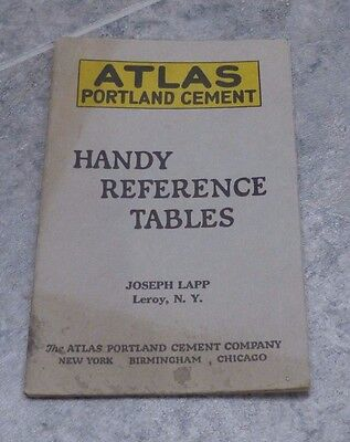 Vintage Booklet Atlas Portland Cement Handy Reference Tables, 1923