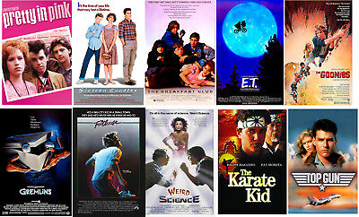 80's Movie Party Posters Footloose Gremlins Karate Kid E.T. Goonies Top Gun
