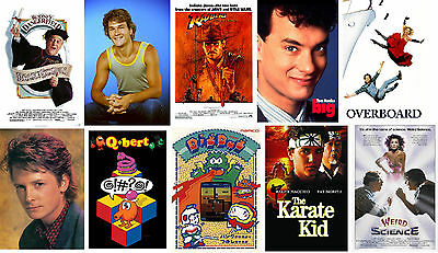 80s Party Poster Set Q-Bert Karate Kid Weird Science Big Overboard Michael J Fox