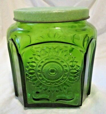 Wheaton NJ Sun Flower Emerald Green Vintage Glass Jar Container with Metal Top