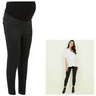 Maternity New Look Over Bump COATED Jeggings Jeans BNWT Black Sizes 10 - 18