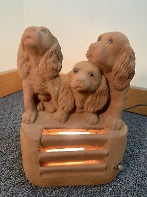 VINTAGE 1950'S A.N. BROOKS CHICAGO CHALKWARE LAMP Light Cocker SPANIELS DOGS