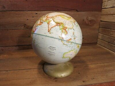 Vintage Rand McNally Political World School Globe on Stand