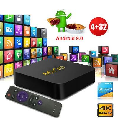 MX10 4K Android 9.0 Pie 4+32G Smart TV BOX Quad Core Media MINI PC USB 3.0 HDMI