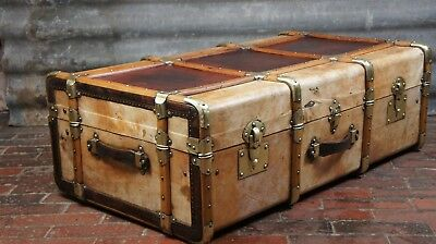 Huge Vellum And Leather Cabin Trunk Antique Chest
